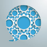 Speech Bubble Hole Gears. Speech bubble hole with gears on the gray background Stock Photography