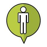 Speech bubble with human figure silhouette icon. Vector illustration design Stock Image