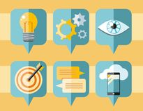 Speech bubble icon set of business elements Royalty Free Stock Photos