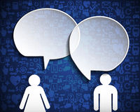 Speech bubble with icon social network over blue background. Stock Images