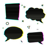 Speech bubble icons in the style of a glitch on white background. Banner design with vsh effect, glitch and noise for Stock Photography