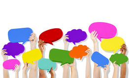 Speech Bubble Icons talking hands Stock Image