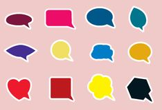 Speech bubble icons in various bright colors Royalty Free Stock Images