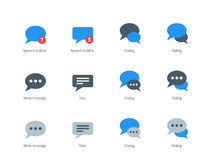 Speech bubble icons on white background. Speech bubble vector icons set. Different speech bubbles, dialog, text, messages. Flat color icons set. Isolated on Royalty Free Stock Photos
