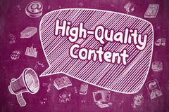High-Quality Content - Business Concept in Speech Bubble. Speech Bubble with Inscription High-Quality Content Cartoon. Illustration on Purple Chalkboard royalty free illustration