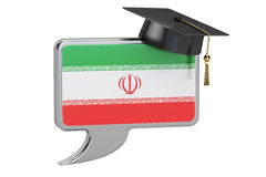 Speech bubble with Iranian flag, learning concept. 3D rendering Stock Image
