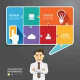 Speech bubble jigsaw puzzle with Businessman. concept vector. Illustration Royalty Free Stock Images