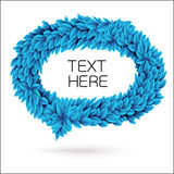 Speech bubble of leaves. Blue vector element with drop shadow  on white Stock Photography