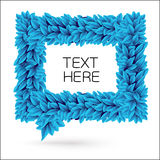 Speech bubble of leaves. Blue vector element with drop shadow  on white Royalty Free Stock Photos