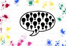 Speech bubble with light bulb and paint stroke. On white background Stock Images