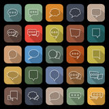 Speech Bubble line flat icons with long shadow Stock Photography