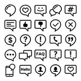 Speech bubble line icons set- comment, web, blog, contact  design Royalty Free Stock Photo
