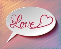 Speech bubble LOVE and heart Stock Photography