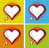 Speech Bubble Love Heart in Pop-Art Style cards set. Valentine Royalty Free Stock Image