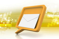 Speech bubble with mail. In color background royalty free illustration