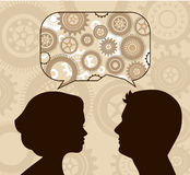 Speech bubble with male and female  profiles Royalty Free Stock Photo