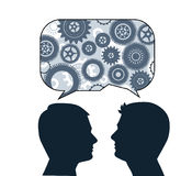 Speech bubble with male profiles. Idea, creativity, communication, teamwork, brainstorming concept stock illustration