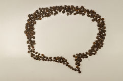 Speech bubble, message box image made up of coffee beans. Stock Images