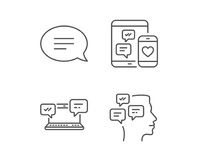 Speech bubble, Message and Communication icons. Speech bubble, Message and Communication line icons. Group chat, Conversation and SMS signs. Messenger symbol vector illustration