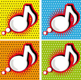 Speech Bubble Music Note in Pop-Art Style background. Speech Bubble Music Note in Pop-Art Style poster card background Royalty Free Stock Photos