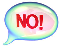 Speech bubble with No sign. On a white background Stock Photo