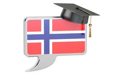 Speech bubble with Norwegian flag, learning concept. 3D renderin Royalty Free Stock Images
