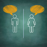 Speech bubble of outline girl boy on chalkboard Royalty Free Stock Image