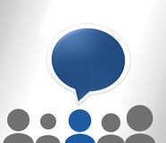 Speech bubble. People with one guy blue Royalty Free Stock Images