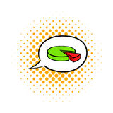 Speech bubble with a pie chart icon, comics style Royalty Free Stock Photography