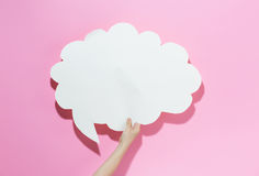 Speech bubble on a pink background Royalty Free Stock Image