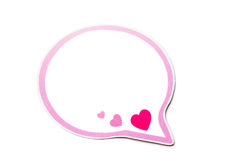 Speech bubble with pink hearts and border isolated on white background. Copy space Royalty Free Stock Image