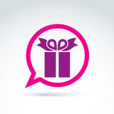 Speech bubble with a purple gift box sign. Vector present icon. Chat on a birthday theme Stock Images