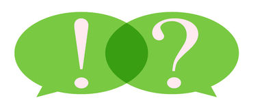 Speech Bubble with question mark and exclamation mark. With green color Stock Photos