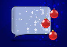 Speech bubble with red christmas baubles Stock Images