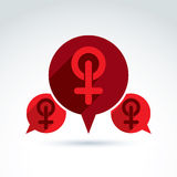Speech bubble with a red female sign, woman gender. Symbol. Lesbian club conceptual icon – chat on a relationship theme Royalty Free Stock Photography