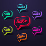 Speech bubble sale. Set of Sale 3d Banner, Speech Bubble, Button on Dark Background. Ready for your Design, Website, Advertising. Vector EPS10 Royalty Free Stock Photos