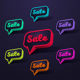 Speech bubble sale-01. Set of Sale 3d Banner, Speech Bubble, Button on Dark Background. Ready for your Design, Website, Advertising. Vector EPS10 Stock Photos