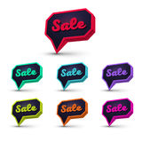 Speech bubble sale2. Set of Sale 3d Banner, Speech Bubble, Button on White Background. Ready for your Design, Website, Advertising. Vector EPS10 Stock Images
