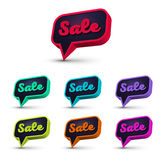 Speech bubble sale-02. Set of Sale 3d Banner, Speech Bubble, Button on White Background. Ready for your Design, Website, Advertising. Vector EPS10 Royalty Free Stock Photography