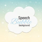 Speech Bubble with Sample Text against Abstract Glossy Star Sky Royalty Free Stock Photos
