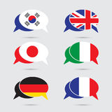 Speech bubble set with flag in vector format royalty free illustration