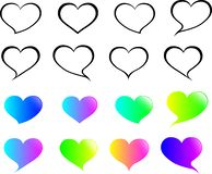 `Speech bubble set in the heart outline with a gradient heart.Love speech bubble set.Isolated from the white background. stock illustration