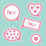 Speech bubble set with hearts and word Love. Card Royalty Free Stock Photo