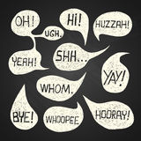 Speech bubble set with short phrases on chalkboard background 2 stock photos