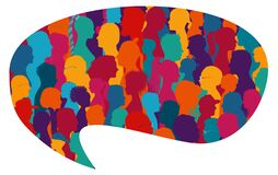 Free Speech Bubble Shape.Population.Crowd Talking.Dialogue And Communication Group Of Diverse Multiethnic And Multicultural People.Silh Stock Photo - 173336550