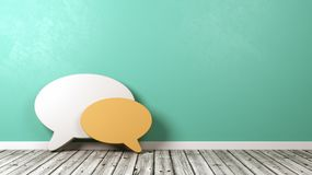 Speech Bubble Shapes Against Wall with Copyspace. Two Speech Bubble Shapes on Wooden Floor Against Wall with Copyspace 3D Illustration stock illustration