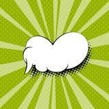 Speech Bubble in the Sixties Style. Sunbeam with Dots and White Speech Bubble on Green Retro Pop Art Background in the Sixties Style, Vector Illustration Royalty Free Stock Photo