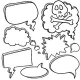 Speech bubble sketch. Doodle style cartoon conversation, speech, or thought bubbles in vector illustration format Stock Photo