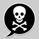 Speech bubble with skull and crossbones Stock Photography