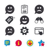 Speech bubble smile face icons. Happy, sad, cry. Speech bubble smile face icons. Happy, sad, cry signs. Happy smiley chat symbol. Sadness depression and crying Stock Photos